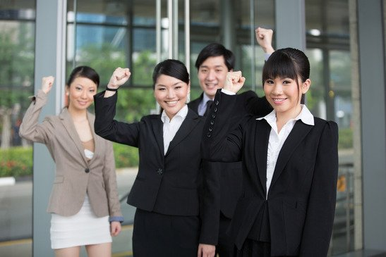 Happy Asian business team